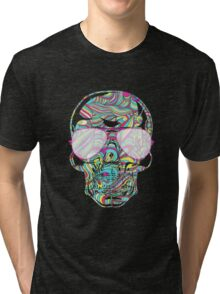 Skull Color Waves Tri-blend T-Shirt