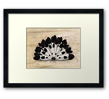 Yin Yang Magpie Feather Fan Framed Print