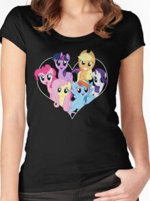 chest heart ponies  Women's Fitted Scoop T-Shirt