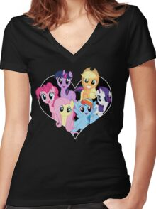 chest heart ponies  Women's Fitted V-Neck T-Shirt