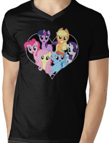 chest heart ponies  Mens V-Neck T-Shirt