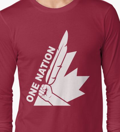 One Nation White Long Sleeve T-Shirt