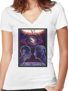 """The Lovers"" Tarot Card Shirt (Saturn!) Women's Fitted V-Neck T-Shirt"