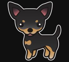 Black And Tan Smooth Coat Chihuahua Cartoon Dog by destei