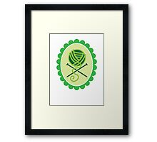 PIRATE KNITTER crossed knitting needles and a ball of Wool Framed Print