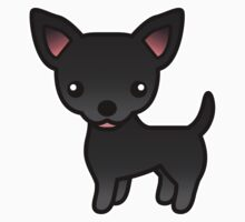 Black Smooth Coat Chihuahua Cartoon Dog by destei