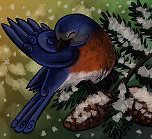 Eastern Bluebird Christmas Card by Christine Ridgway