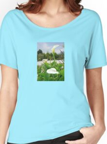 Three Cream Calla Lilies With Garden Background Women's Relaxed Fit T-Shirt