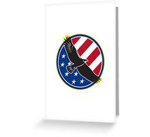 American Eagle Flying USA Flag Retro Greeting Card