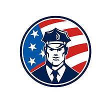 American Policeman Security Guard Retro by patrimonio