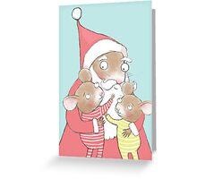 CUTE CHRISTMAS MICE AND SANTA Greeting Card