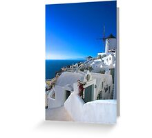 White on Blue Greeting Card