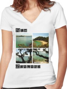 New Zealand - Whale Bay - Tee Women's Fitted V-Neck T-Shirt