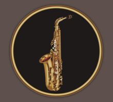 Saxophone Gold Sign decoration Clothing & Stickers by goodmusic