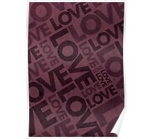 Love Typography Poster - Red/Burgundy Poster