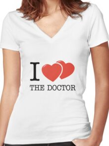 I (2 Hearts) The Doctor Women's Fitted V-Neck T-Shirt
