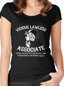 Vicious Lawless Associate - on Black Women's Fitted Scoop T-Shirt