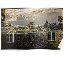 Window Reflection when Looking Inside the Burnt Out Mt Stromlo Observatory in Canberra Poster