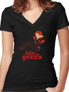 God Save the Queen (of Hell) Women's Fitted V-Neck T-Shirt