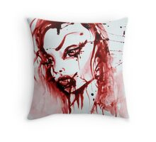 Bloody Vamp Girl Throw Pillow