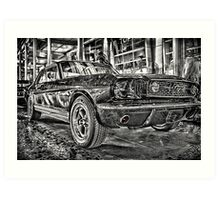 FORD MUSTANG HDR - Black and White version Art Print