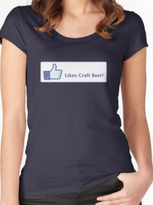 Likes Craft Beer Button Women's Fitted Scoop T-Shirt