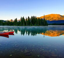 Early Morning Reflections, Lac Beauvert, Jasper Alberta, Canada by bevanimage