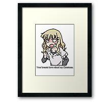 Your breasts have ruined my christmas! (Yuru yuri) Framed Print