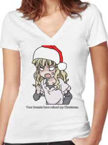 Your breasts have ruined my christmas! Hat version (Yuru yuri) Women's Fitted V-Neck T-Shirt
