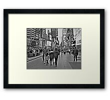 People in Times Square, New York City in B&W Framed Print