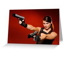 Guns Girl Greeting Card