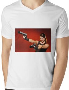 Guns Girl Mens V-Neck T-Shirt