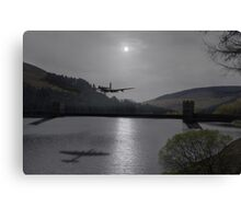 Dambusters Lancaster at the Derwent Dam at night Canvas Print