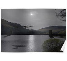 Dambusters Lancaster at the Derwent Dam at night Poster