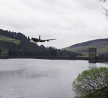 Dambusters Lancaster at the Derwent Dam by Gary Eason + Flight Artworks