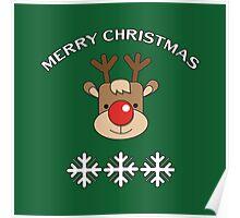 Rudolph & Snowflakes Poster