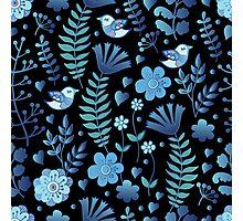 Vintage floral pattern on a black background Photographic Print