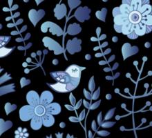 Vintage floral pattern on a black background Sticker