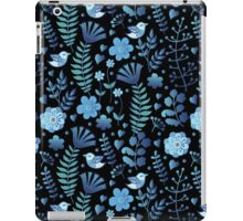 Vintage floral pattern on a black background iPad Case/Skin