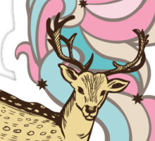 Color print with a deer and patterns Sticker