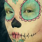 Day of The Dead - Sugar Skull Face Paint Portrait by Liam Liberty