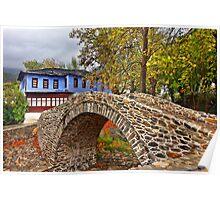 Stone arched bridge, indigo house Poster