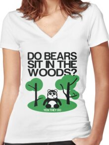 Do bears sit in the woods? Women's Fitted V-Neck T-Shirt