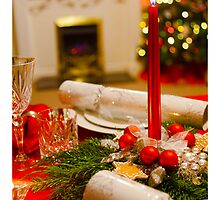 Candle on the Christmas Dinner Table by boogeyman