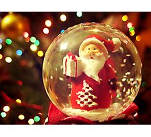 Snow Globe Santa Photographic Print