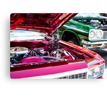 Red and Green Chevy Impalas and Engines Canvas Print