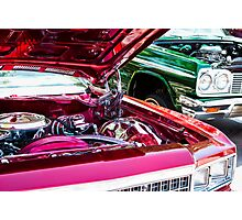 Red and Green Chevy Impalas and Engines Photographic Print