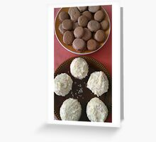 White cupcakes and brown macarons Greeting Card