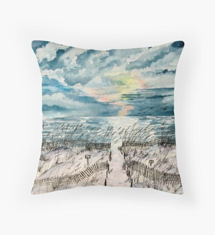 beach sunset art print Throw Pillow