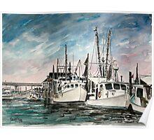 boats nautical art print Poster